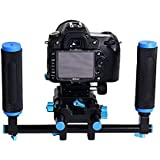 Neewer® 2 Pcs Grip Handle with Rod Clamp for 15mm DSLR Camera Rod Rig Support Rail System Black & Blue