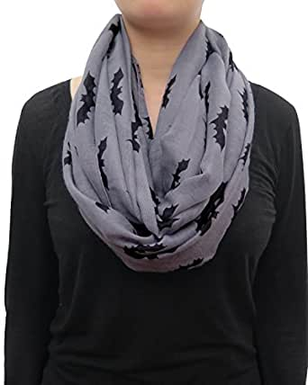 Lina & Lily Halloween Bat Print Infinity Loop Scarf Lightweight