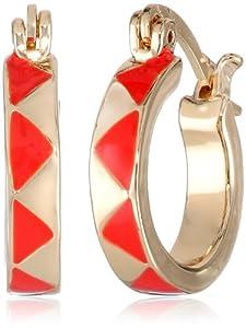 House of Harlow 1960 Gold-Plated and Coral-Color Enamel Huggie Hoop Earrings