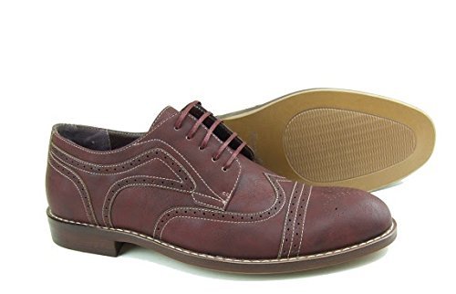 FERRO ALDO Men's Simple Perforated Oxford Contrast Stitching Lace Up Round Toe Dress Shoes 0