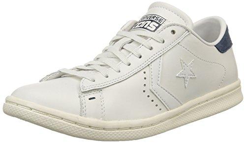 Converse, Pro Leather Lp Ox Leather Sneaker,Unisex Adulto, Bianco (White Dust/D.Blue), 44.5
