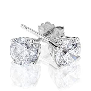 Diamond Solitaire Earrings 1ctw