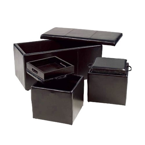 Roundhill Furniture Trina Triple Storage Ottomans with Wooden trays, Brown