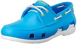 Crocs Men's Beach Line Boat Shoe Ocean and White Rubber Boat Shoes - M8