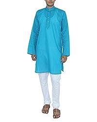 Bhartiya Men's Blended Cotton Regular Fit Kurta (KURTA-1316Blue_XL_Blue, Blue, XL)