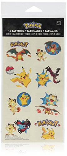 Amscan Cute Pikachu & Friends Temporary Tattoo (16 Piece), Multi, 2 x 1 3/4""