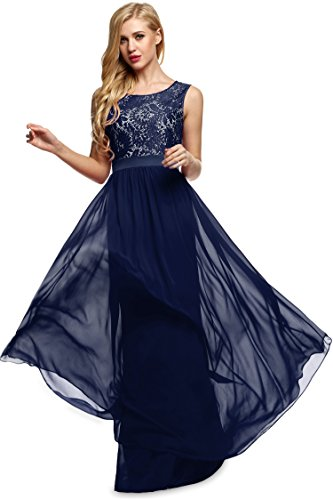 Angvns Women's Classic Evening Dress (M, Dark Blue)