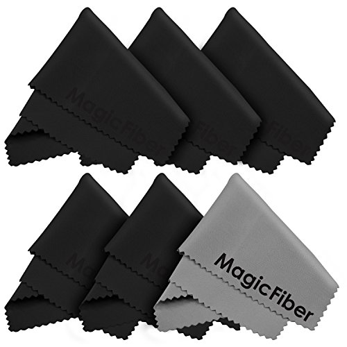 "(6 Pack) MagicFiber Microfiber Cleaning Cloths - For All LCD Screens, Tablets, Lenses, and Other Delicate Surfaces (5 Black and 1 Grey 6x7"")"