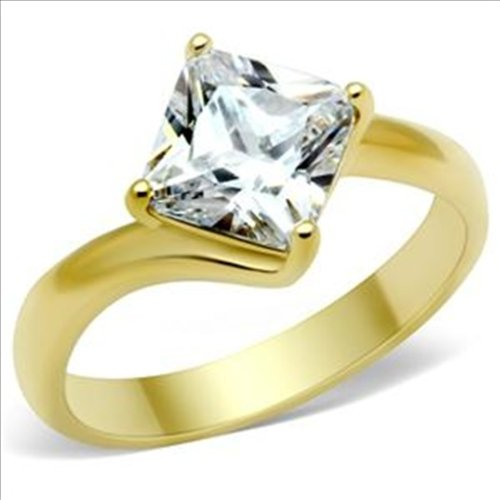 Princess cut 2ct cz Solitaire Engagement Ring Gold plated Cubic Zirconia (10)