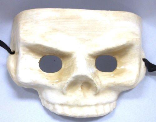 White Ivory Half Skull Paper Mache Halloween Mardi Gras Masquerade Mask (Paper Skull Mask compare prices)