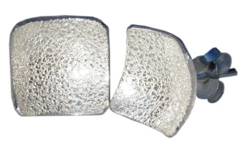 Handmade 925 Sterling Silver Textured Square Stud Earrings - FREE Delivery in UK Gift Wrapped Gifts