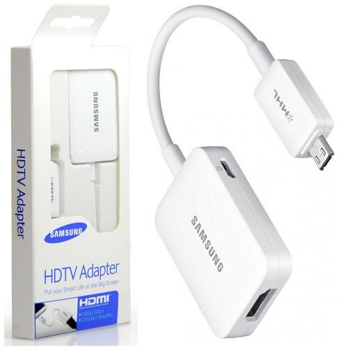 "Genuine Samsung Mhl 2.0 Hdmi Hd Tv Adapter For Galaxy Tab 3 8.0"" Sm-T310, Tab 3 10.1"" P5200 P5210, Note 8.0"" Gt-N5110 N5120, Note 10.1 2014 Edition Sm-P600 - Et-H10Fauwegww"