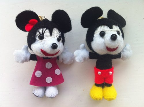Mickey & Minnie Pair of String Doll Keychain