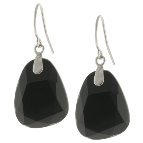 Sterling Silver Faceted Onyx Trapezoid Drop Earrings