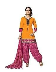 Ritu Creation Women's New Cotton With Front Latkan And Bandhni Print Patyala And Dupatta(Yellow)