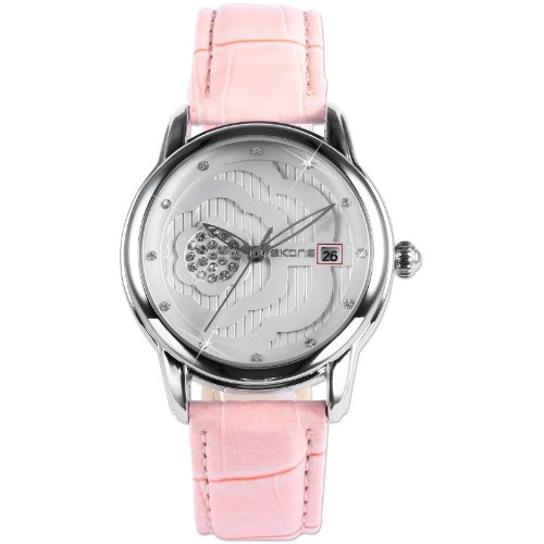 Lady Women Rose Crystal Analog Date Display Pink Leather Band Quartz Wrist Watch WK1109