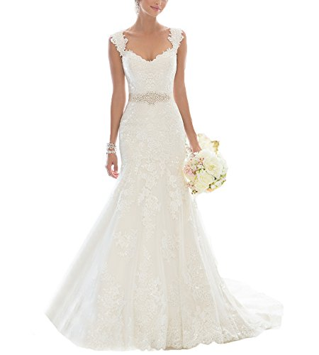 Beauty Bridal Elegant Off-Shoulder Crystal Lace Wedding Dresses for Bride 2016(6,White)