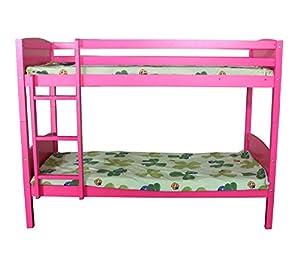 FoxHunter 3FT Bunk Bed Wooden Frame Children Sleeper No Mattress Single Pink Furniture New