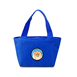 Carolines Treasures LH9395BU Pomeranian Lunch or Doggie Bag, Large, Blue
