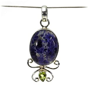 Lapis Lazuli, Peridot Women Pendant Handmade 925 Sterling Silver hand cut Lapis Lazuli, Peridot 55mm, color Navy blue 10g, Nickel and Cadmium Free, artisan unique handcrafted silver pendant jewelry for women - one of a kind world wide item with original Lapis Lazuli, Peridot gemstone - only 1 piece available