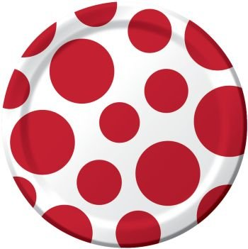 White with Red Polka Dot 7 inch Cake/Dessert Plates (8 ct)