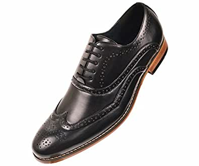 amali mens black smooth wingtip oxford dress shoe with