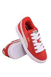 PUMA Suede Junior Sneaker (Little Kid/Big Kid) , High Risk Red/White, 3.5 M US Big Kid