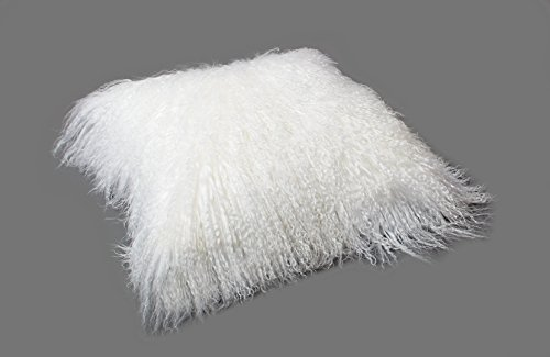 Tibet Lammfell Kissen Kissenbezug 30x30cm (große Farbauswahl) JAY02 Farbe weiß-weiß