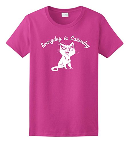 Every Day Is Caturday, Cat Humor Ladies T-Shirt Medium Heliconia