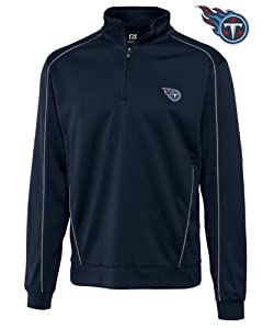 NFL Tennessee Titans Mens CB DryTec Edge Half Zip Pullover, Navy Blue by Cutter & Buck