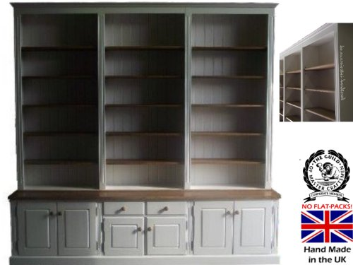 100% Solid Wood Display Dresser, Stunning 8ft Wide White Painted & Waxed Handcrafted Display Shelving Unit. Buffet Hutch. No flat packs, No assembly