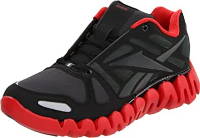 Reebok Men's Zig Dynamic Nubuck Running Shoe,Black/Gravel/Excellent Red Nubuck,15 M US