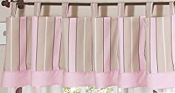 Sweet Jojo Designs Window Valance - Pink and Brown Modern Polka Dots