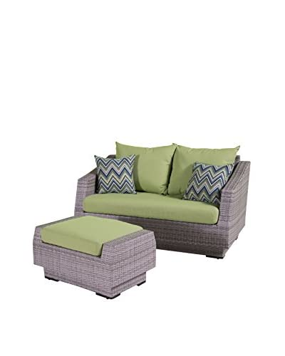 RST Brands Cannes Loveseat and Ottoman Set, Green