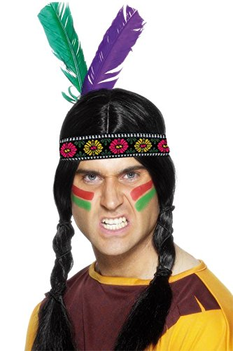 Smiffy's Men's Indian Feather Headband with 2 Feathers, Multi, One Size - 1
