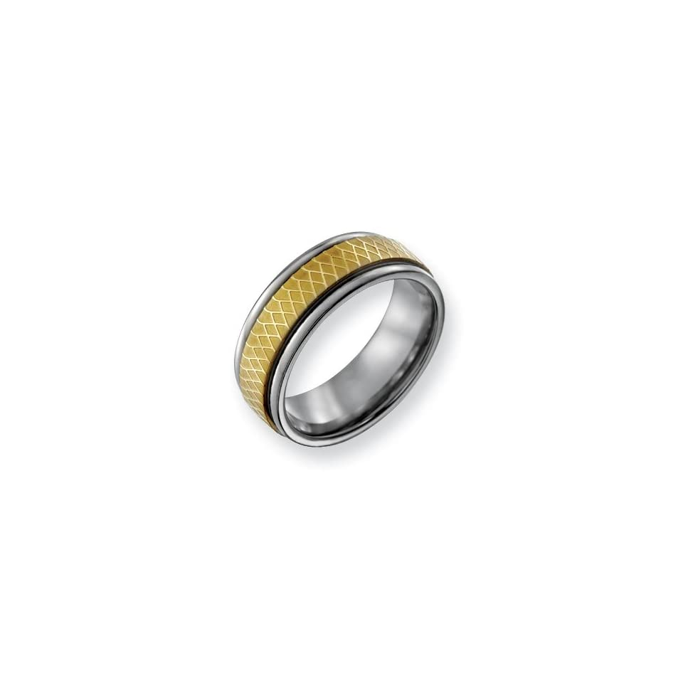 Titanium 8mm Gold plated Fancy Band Ring   Size 10.5   JewelryWeb