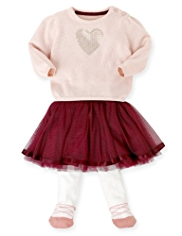 3 Piece Autograph Heart Jumper, Tutu Skirt & Tights Outfit