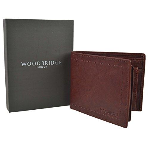 Classic Bi-fold Portafoglio Uomo Pelle Brandy di Woodbridge in confezione regalo