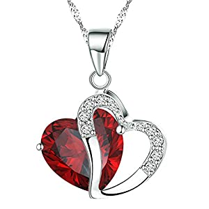 KATGI Fashion White Gold Plated Diamond Accent Austrian Crystals Heart Shape Pendant Necklace (Red)