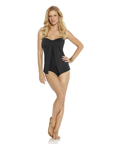 Jantzen Women's Solid Fly Away One Piece Swimsuit  [Black]