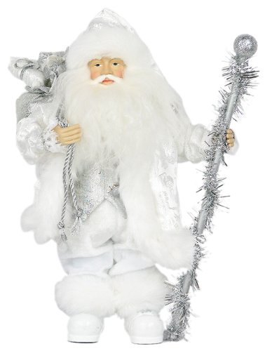 Silver and White Standing Santa Claus with Presents and Staff by Triple Blessings Inc