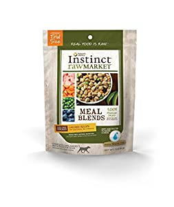 Nature's Variety Instinct Raw Market Grain-Free Freeze Dried Chicken Recipe Meal Blends for Dogs, 3 oz. Trial Size Bag