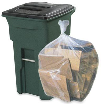 Plastic Place 64 Gallon Toter® Compatible Trash Bags, 1.5 Mil, Clear, 50 / Case - W65LDCTL - 50