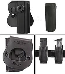 Sig Sauer Sigtac CZ75 CZ75B Omega BD 75D PCR 85 Canik 55 Rotates 360 Right Hand Paddle Holster, Black + Ultimate Arms Gear 9mm/.40/.45 Magazine Belt Clip Holder