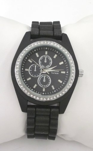 Geneva Platinum Cz Accented Black Silicone Link Watch, Large Face. Faux Chronograph On Face.