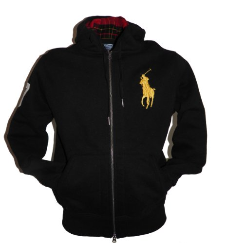 Ralph Lauren Polo Mens Full Zip Hoody Fleece in Navy, Black or Whitewith Big Polo Logo (Large, Black)