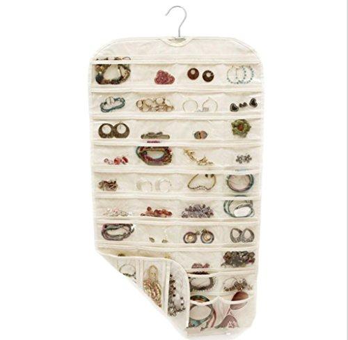 GYMNLJY 80 griglia tessuto bifacciale PVC appeso gioielli deposito Bag per la casa forniture Organizer(pack of 2) . beige
