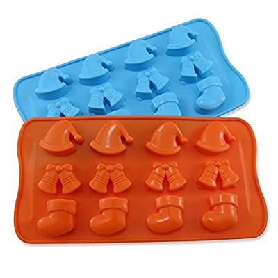 Candy Making Molds, 2PCS YYP [12 Cavity Christmas Hat Shape Mold] Silicone Candy Molds for Home Baking - Reusable Silicone DIY Baking Molds for Candy, Chocolate or More, Set of 2