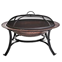 CobraCo FB6132 30 inch Round Cast Iron Copper Finish Fire Pit with Screen and Cover from CobraCo