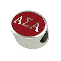 Alpha Sigma Alpha Enamel Sorority Bead Charm Fits Most European Style Bracelets. High Quality Bead in Stock for Fast Shipping